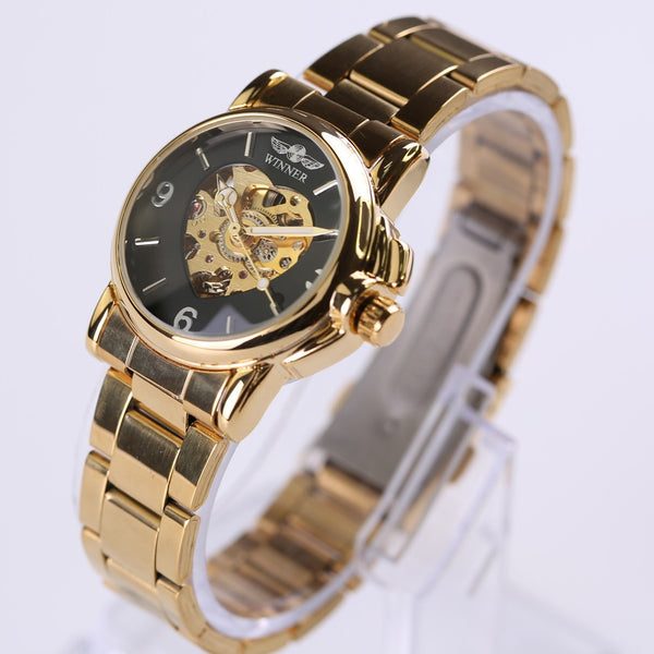 Lady's Luxury Skeleton Golden Steampunk Watch - Royal Steampunk