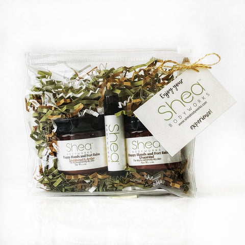 Gift Set - Sandalwood and Amber & Unscented Happy Hands and Feet Balm & O Honey lip Balm
