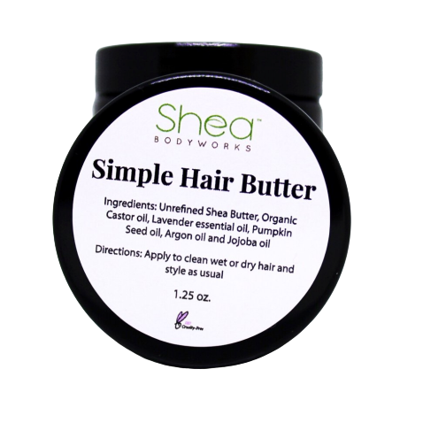 Simple Hair Butter - Shea BODYWORKS, Hair, All Natural Skin Care For Dry to Extremely Dry Skin. Plant Based products made with the finest ingredients. Cruelty Free products. No Parabens, Glycerin, Petroleum, Perfumes, Dyes, Mineral oil