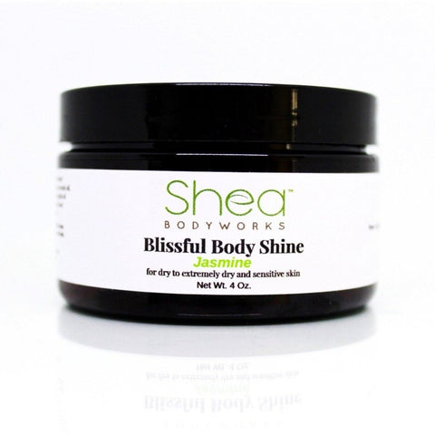 Blissful Body Shine Jasmine - Shea BODYWORKS, , All Natural Skin Care For Dry to Extremely Dry Skin. Plant Based products made with the finest ingredients. Cruelty Free products. No Parabens, Glycerin, Petroleum, Perfumes, Dyes, Mineral oil