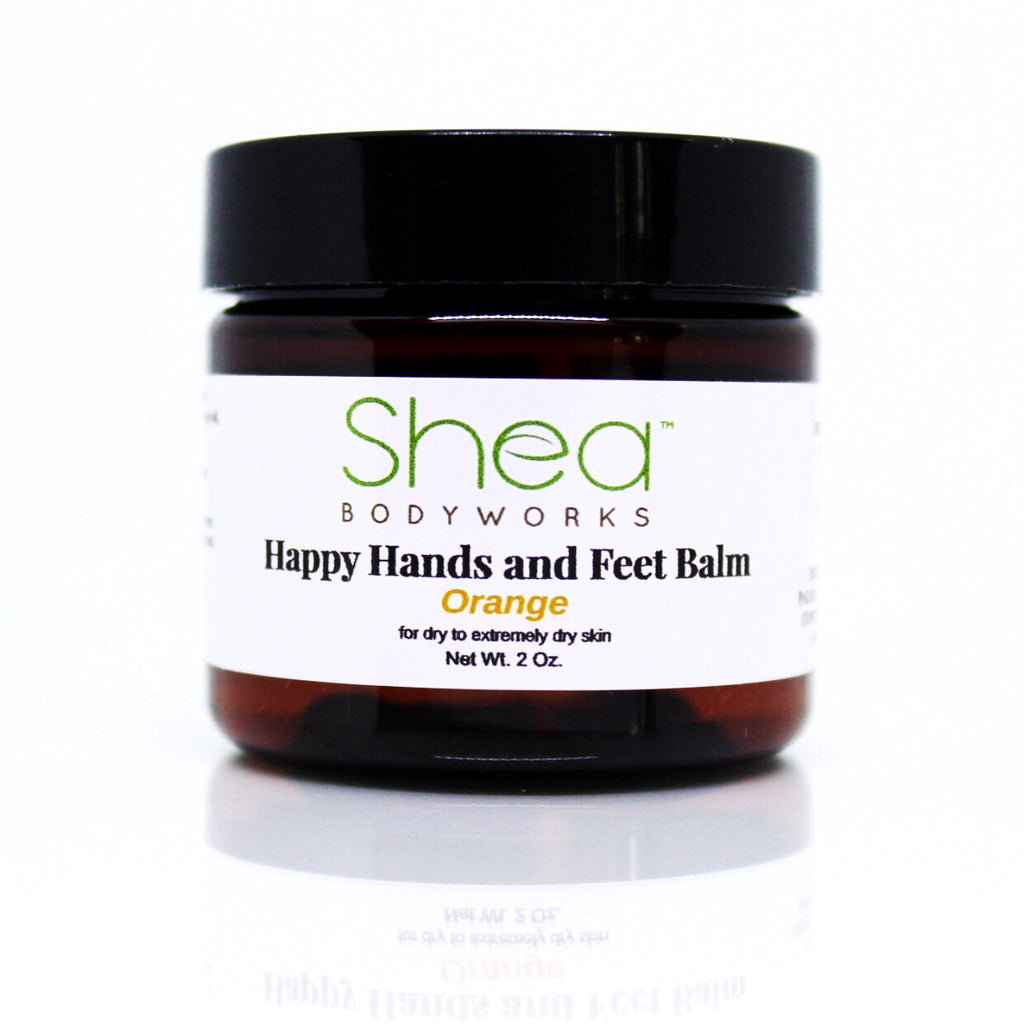Happy Hands and Feet Balm Orange - Shea BODYWORKS, Body Care, All Natural Skin Care For Dry to Extremely Dry Skin. Plant Based products made with the finest ingredients. Cruelty Free products. No Parabens, Glycerin, Petroleum, Perfumes, Dyes, Mineral oil