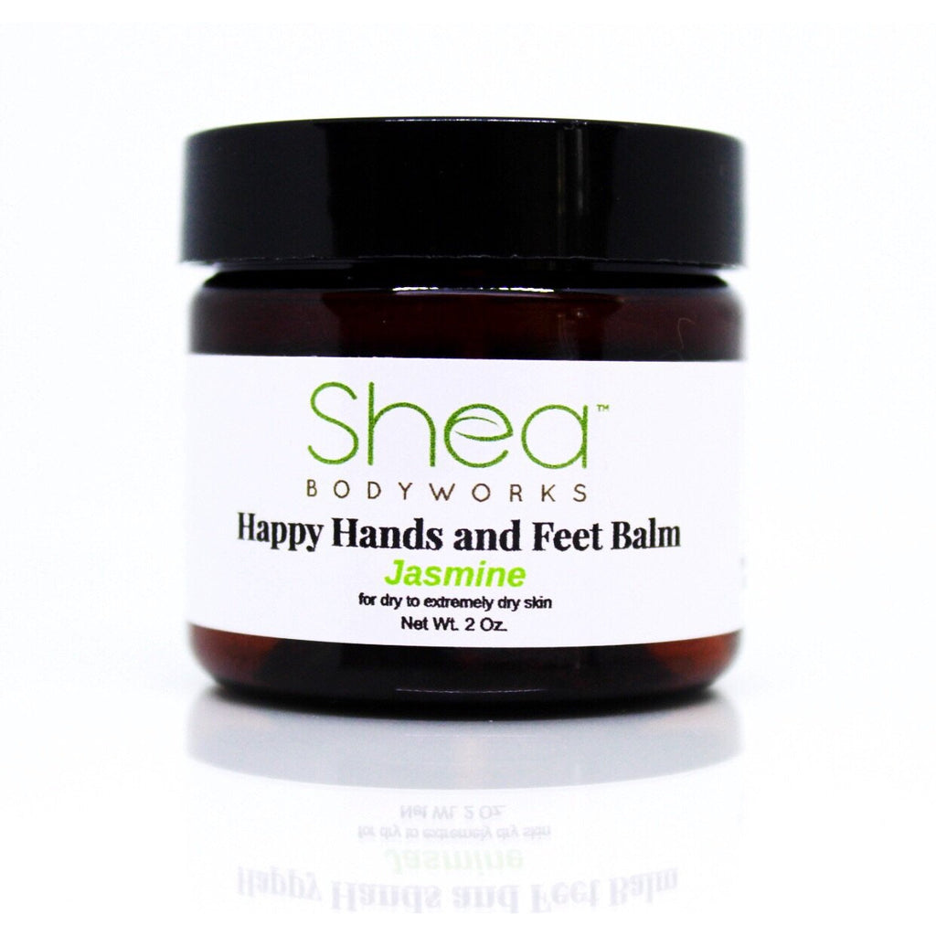 Happy Hands and Feet Balm Jasmine - Shea BODYWORKS, Body Care, All Natural Skin Care For Dry to Extremely Dry Skin. Plant Based products made with the finest ingredients. Cruelty Free products. No Parabens, Glycerin, Petroleum, Perfumes, Dyes, Mineral oil