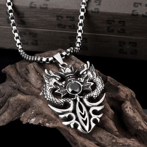 Punk Jewellery Dragon Shield Defence Titanium