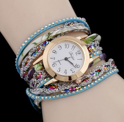 Leather Wrist Band Bling Bling Bracelets Women Hand Watch