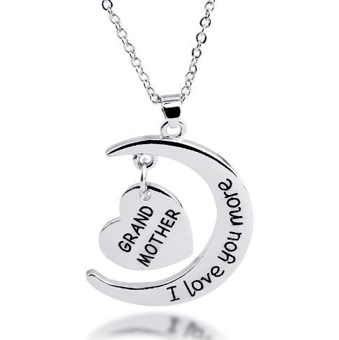 Grandmother I Love You More Moon Heart Necklace