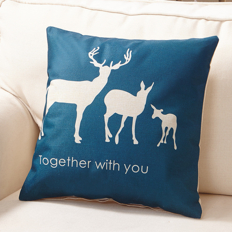 Cushion Cover Deer and Trees Design