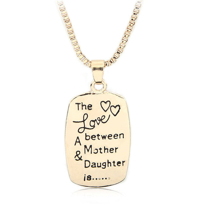 Necklace Stamped Love Between Mother and Daughter
