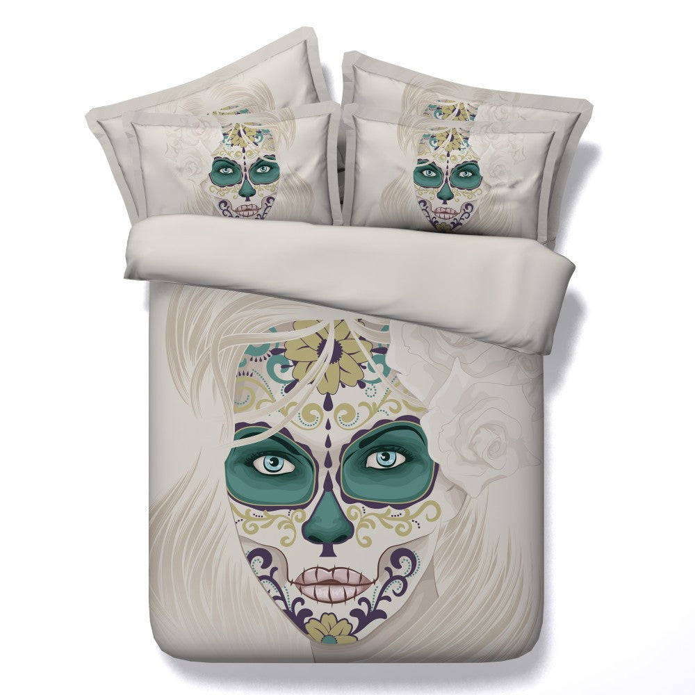 Beautiful Women 3D Skull Bedding Set