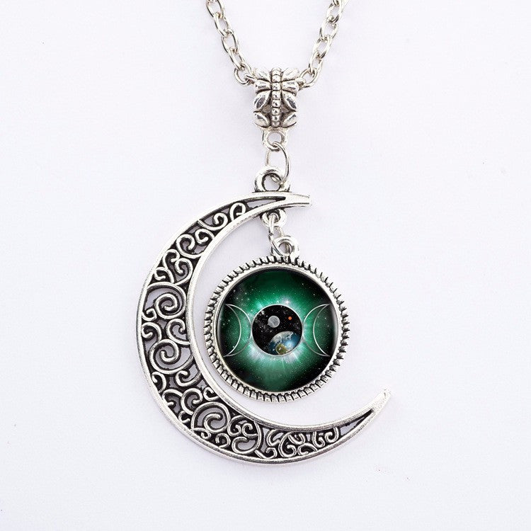 Triple Moon Goddess Pendant Wiccan Necklace