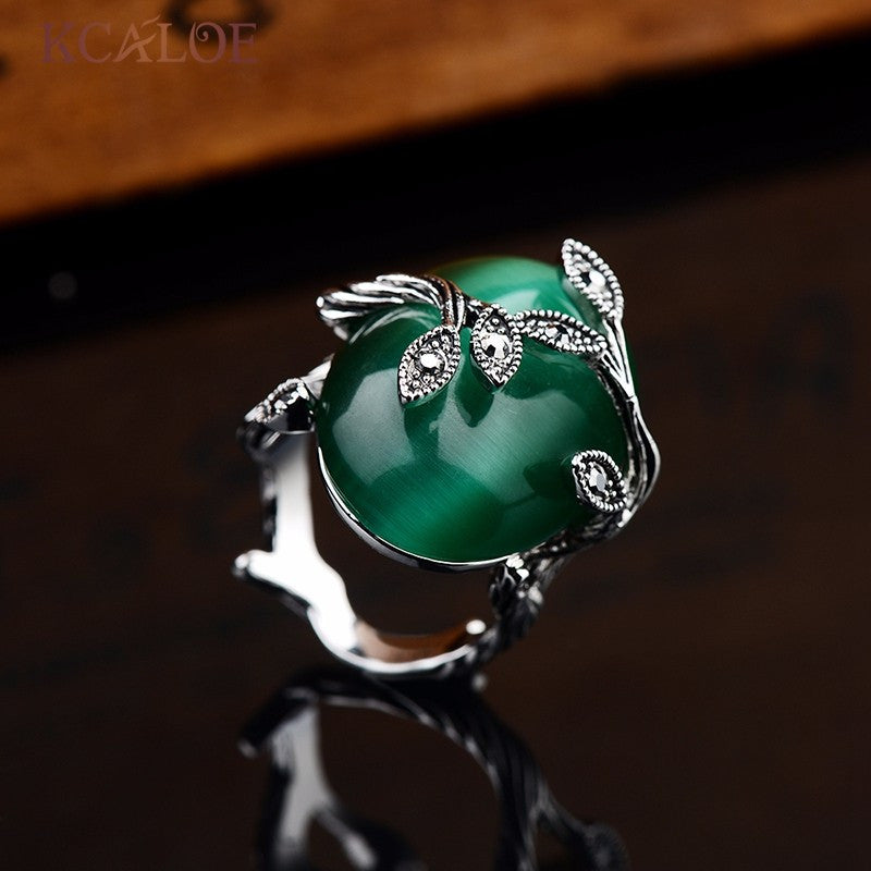 Green Ring Oval Natural Agate Stone Rings For Women Retro Anillo Carved