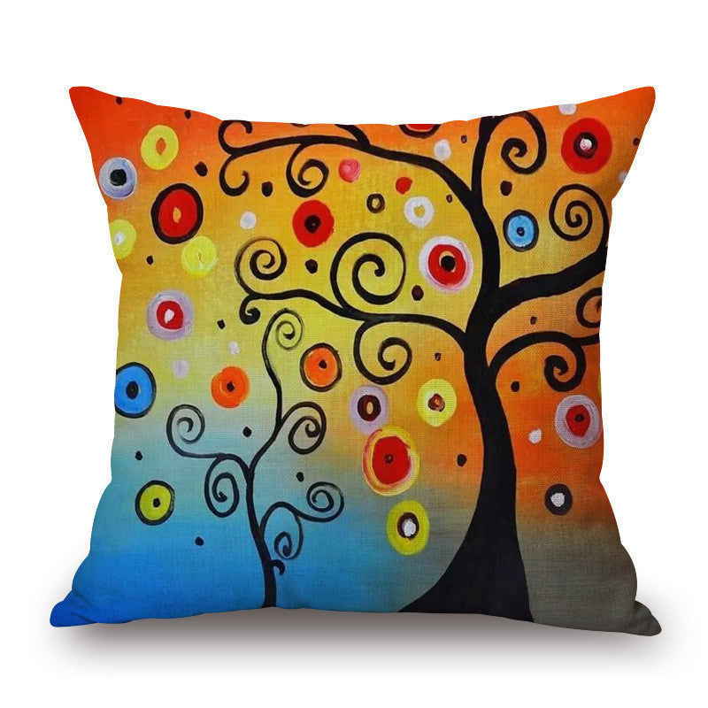 Flower Tree Cushion Covers Girl Deer Oil Painting Pillow Case