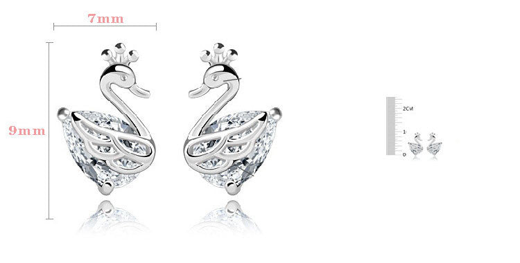 Swan temperament crown zircon silver plated Earring