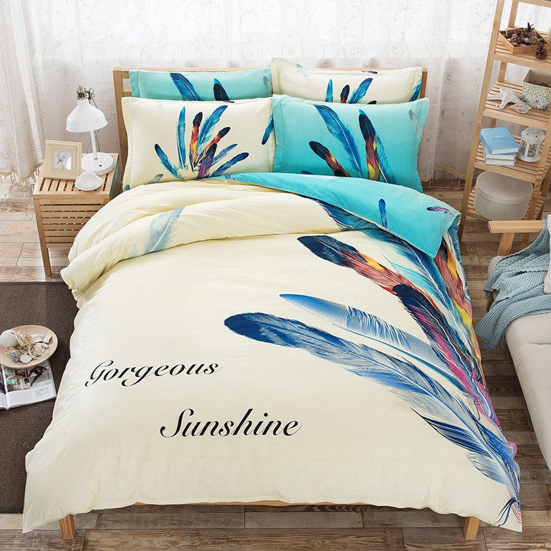 Feather Patterns Cotton Bedding Set