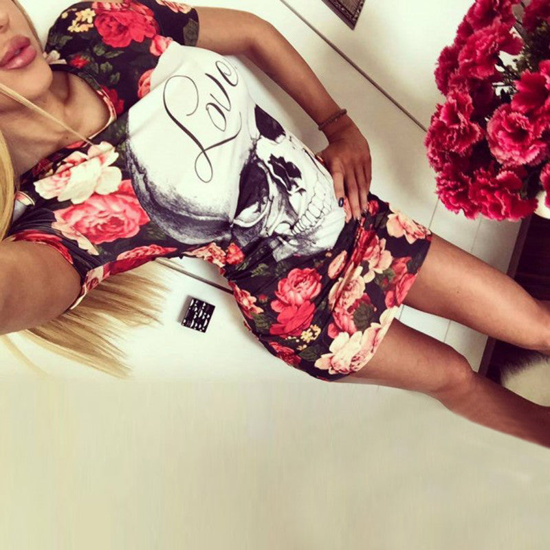 Off the Shoulder Skull Head Roses Print O-Neck Party Dresses