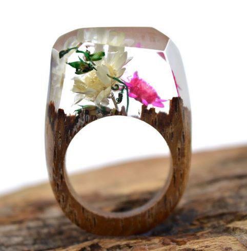 Transparent Handmade Real Flower Bubble Secret Wooden Resin Rings Bague R3