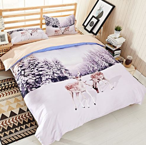 White Snows Cape Tree and Deer 3D Bedding