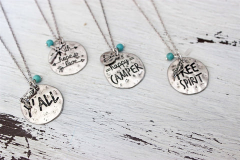 Metal Stamped Necklace and Earring Set-2 Girls 1 Shop