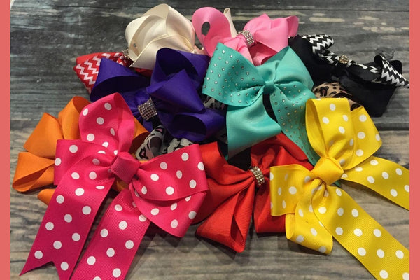 Set of 8 Medium & Large Hair Bow Grab Bag-2 Girls 1 Shop