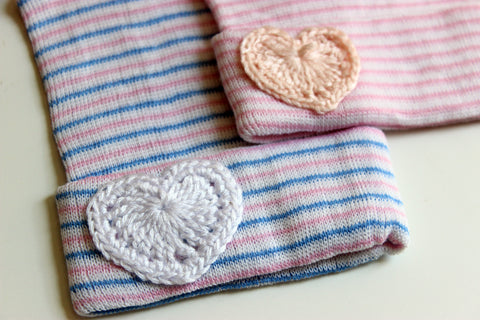 Newborn Heart Crochet Hospital Hats-2 Girls 1 Shop