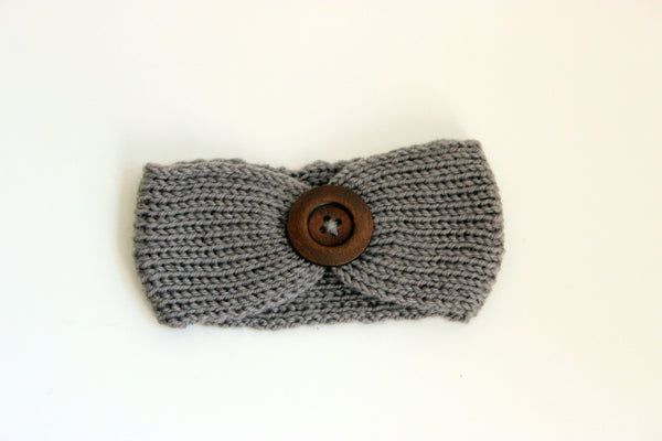 Girls Knit Headband With Button