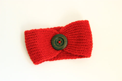 Girls Knit Headband With Button Decor-2 Girls 1 Shop