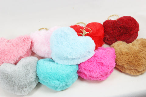 Valentine's Day Fuzzy Heart Key Chain