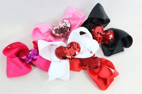 Mermaid Sequin Heart Bow
