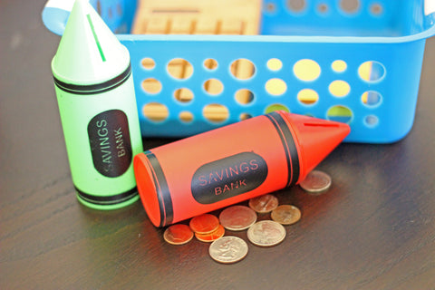 FUN SAVINGS CRAYON BANK MANY COLORS