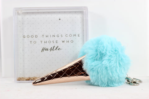 Metallic Ice Cream Cone Pom Pom Keychain - 3 Colors!