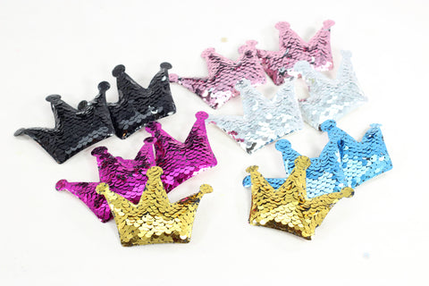 Set of 2 Crown Mermaid Sequin Hair Clips