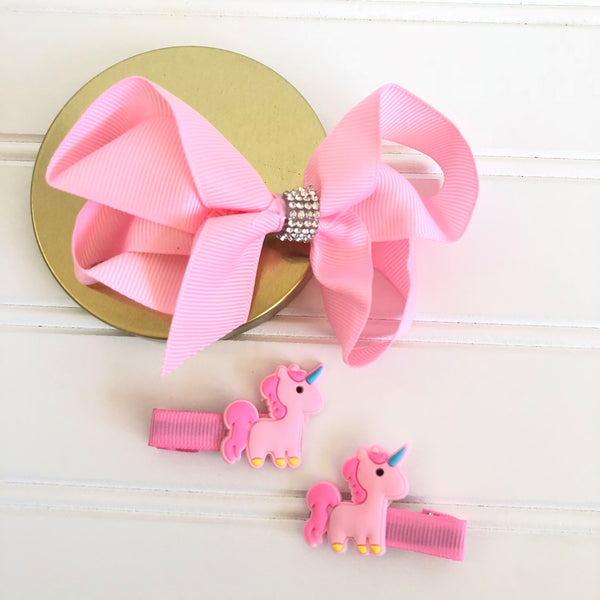 Adorable Unicorn Bow and Clip Set