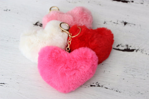 Valentine's Day Fuzzy Heart Key Chain-2 Girls 1 Shop