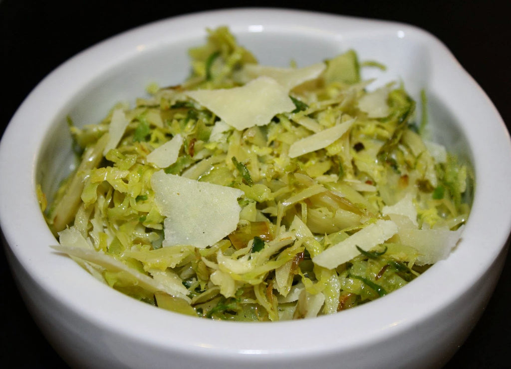 Shaved Brussles Sprouts with Melgarejo Arbequina, Lemon Agrumato Olive Oil & Parmesan Cheese