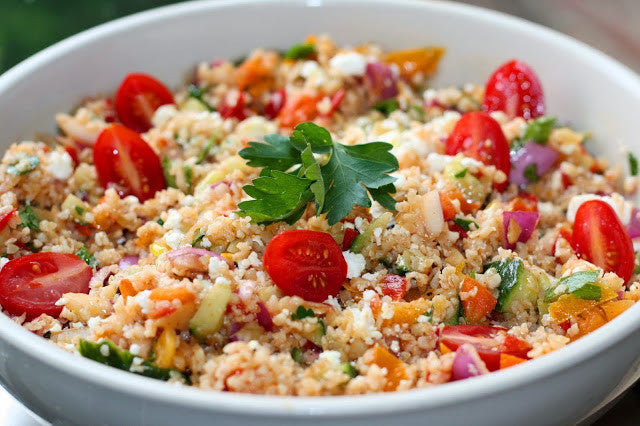 No Cook Bulgur Salad with Mediterranean Vegetables & Lemony-Dill Vinaigrette