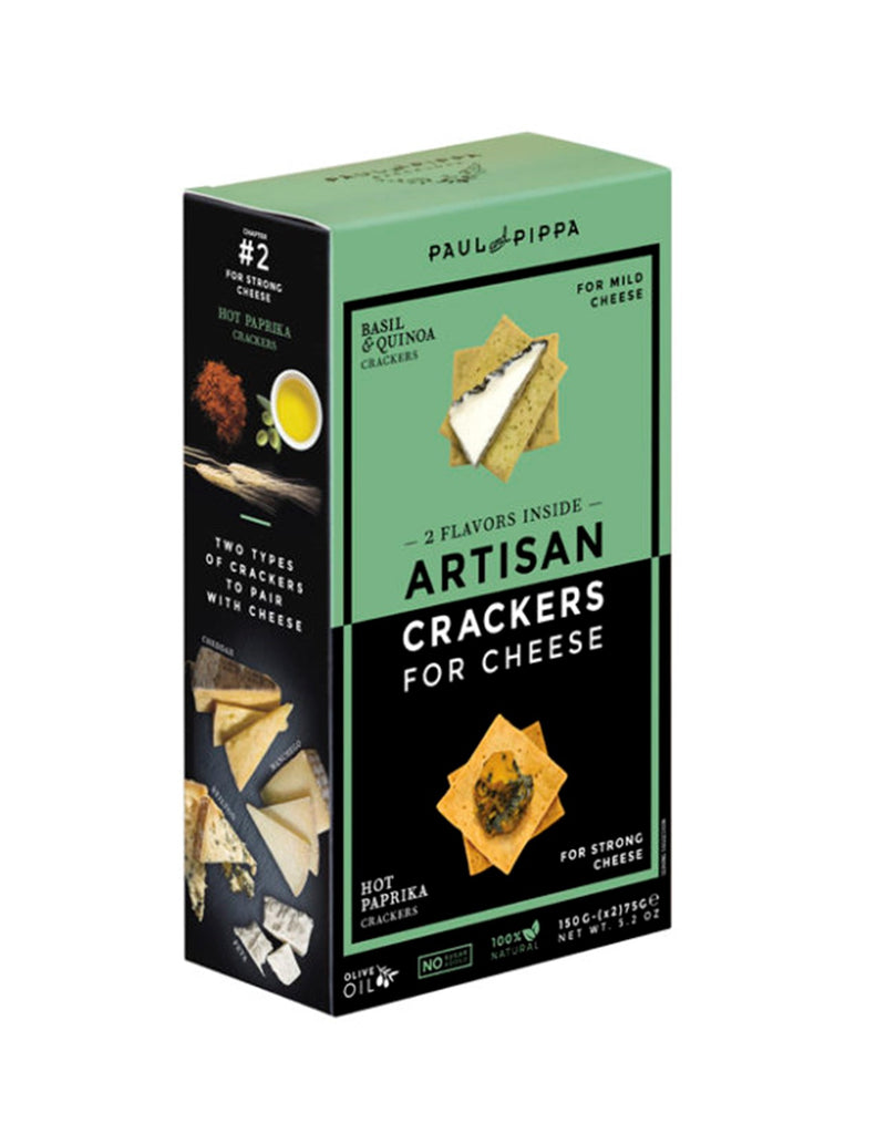 Paul and Pippa Artisan Crackers - Basil & Quinoa and Hot Paprika