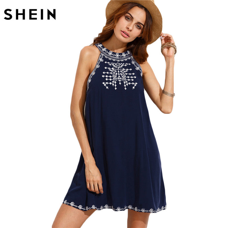 SHEIN Women Summer Casual Short Dresses Ladies Navy Embroidered Cut Out Tie Back Round Neck Sleeveless Shift Dress