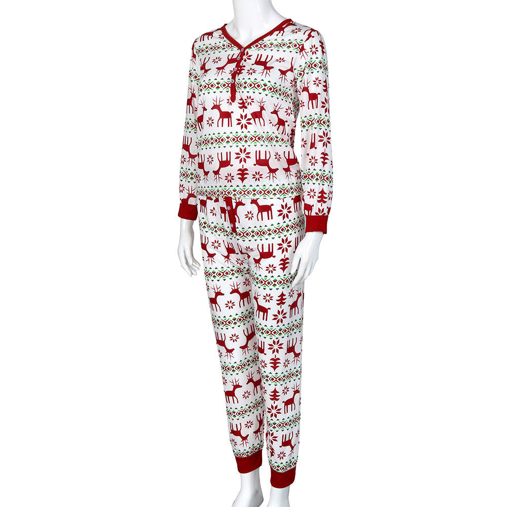 Christmas XMAS Adult Woman Pajamas Set Deer Sleepwear Nightwear Pyjamas Gift L