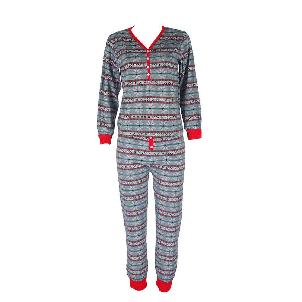 Christmas Family Momen Mother Pajamas Set Snowflake Sleepwear Nightwear Gift