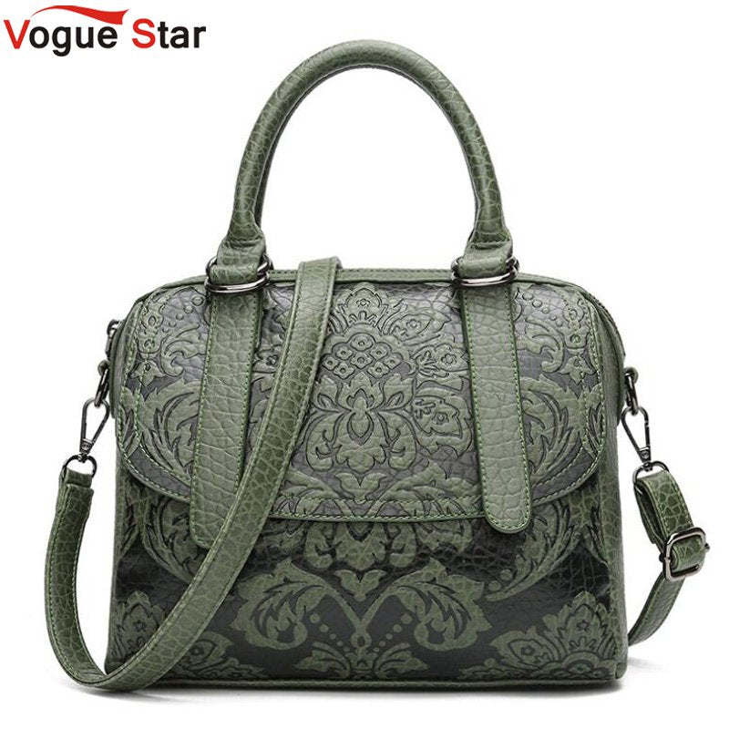 Luxury Women Boston Bags Vintage PU Leather Tote Bag Female Embossed Designer Handbags Crossbody Bags For Women Sac A Main LB397