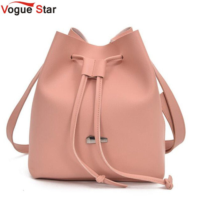 2018 Girls Cute Korean Bags Bucket Leather Shoulder Sling Bags For Women Drawstring Handbags Ladies Crossbody Bucket Bags LB652