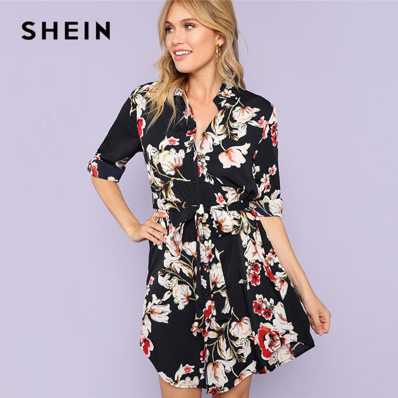SHEIN Multicolor Minimalist Floral Print Self Belted Curved Hem Shirt Natural Waist Stand Collar Dress Summer Women Casual Dress