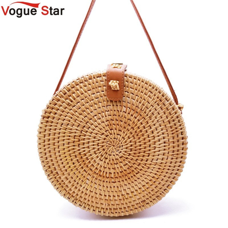2018 Bohemian Bali Rattan Bags for Women Small Circle Beach Handbags Summer Vintage Straw Bag Handmade messenger bag L26