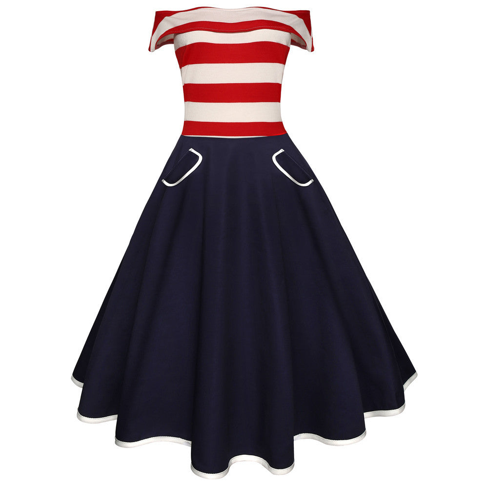 Women Vintage Off The Shoulder Flag Printing Evening Party Prom Swing Dress