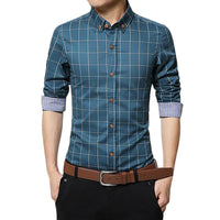 New Autumn Men's Slim Long Sleeve Shirt Plaid  Casual Social Shirt Blouse Top