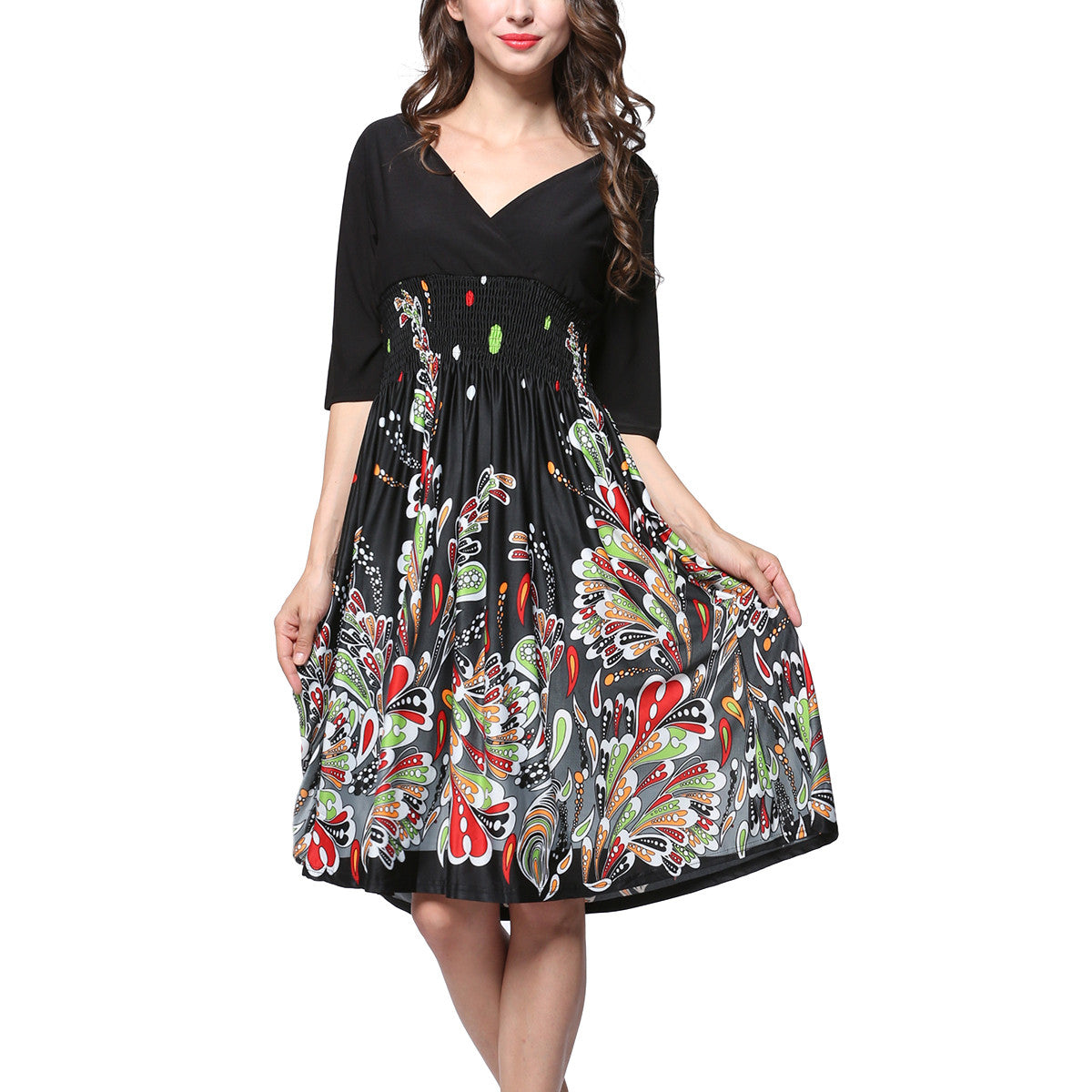 Women's V-neck Summer Puffy Swing Casual Party Dress with Sleeves Size 7XL