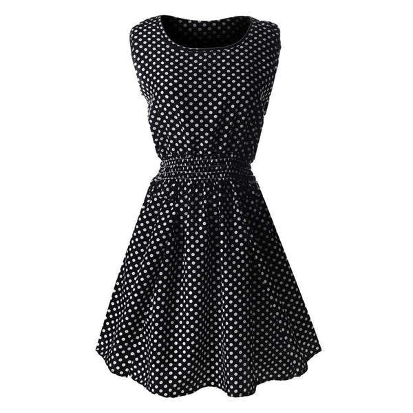 Women Casual Chiffon O-Neck Sexy Sleeveless Dot Beach Mini Party Dress