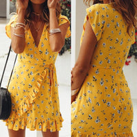Floral Printed Fashion Summer Dress Women V Neck Sleeveless Sexy Party Dress