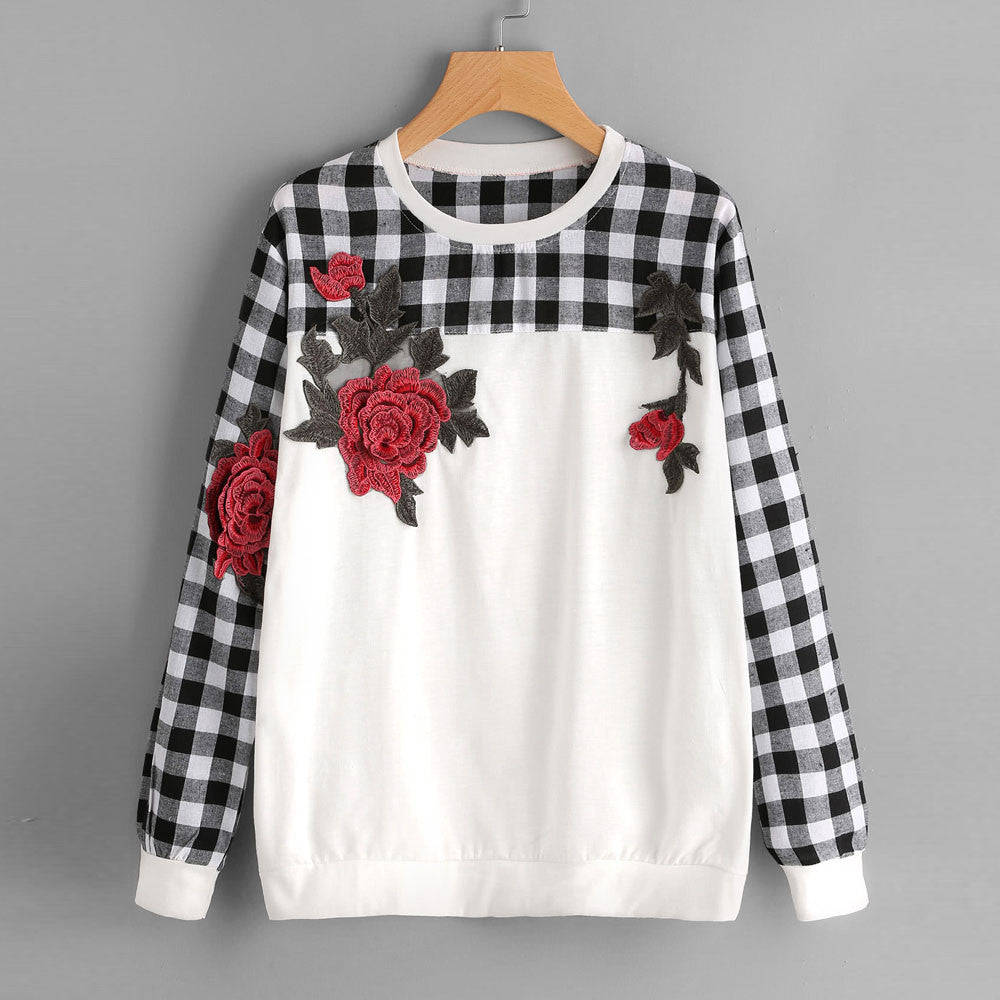 Women Embroidery Plaid Long Sleeve Casual Sweatshirt Pullover Tops Blouse