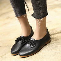 Women's Spring Solid Shoes Wild Lace-up Shallow Casual Shoes