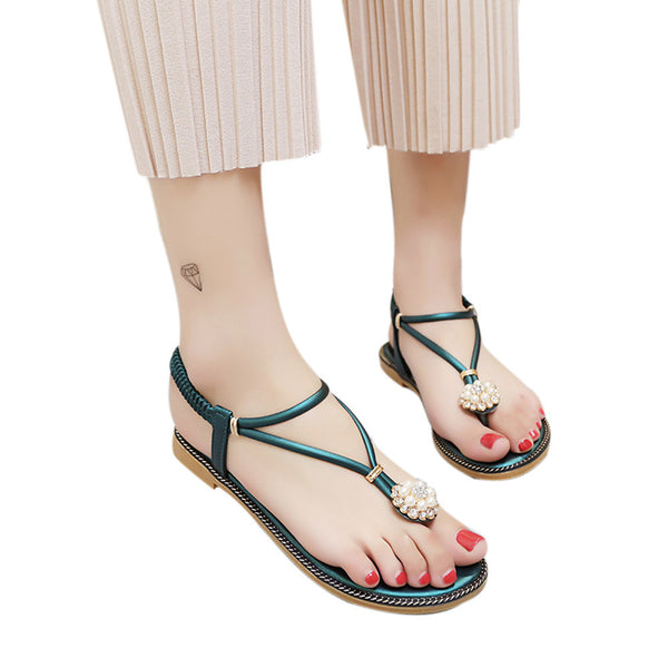 Women Bohemian Pearl Sandals Summer Fashion Diamond Sandals Flat Sandals Shoes